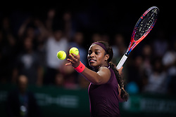 October 26, 2018 - Kallang, SINGAPORE - Sloane Stephens of the United States celebrates qualifying for the semi-finals at the 2018 WTA Finals tennis tournament (Credit Image: © AFP7 via ZUMA Wire)