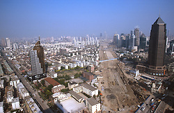 CHINA SHANGHAI PUDONG MAY99 - The path for the millennium road is laid across Pudong. Pudong has experienced a dramatic rise in construction projects, although vacancy rates stand at nearly 60% and a bust-cycle is imminent.  jre/Photo by Jiri Rezac