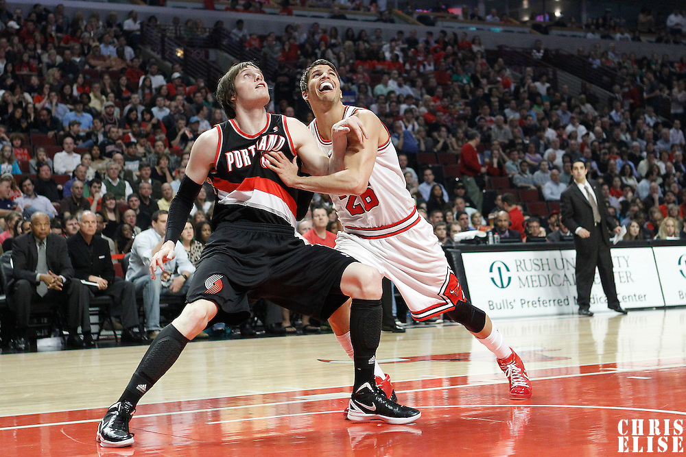 16 March 2012: Portland Trail Blazers small forward Luke Babbitt (8) vies for the rebound with Chicago Bulls shooting guard Kyle Korver (26) during the Portland Trail Blazers 100-89 victory over the Chicago Bulls at the United Center, Chicago, Illinois, USA.