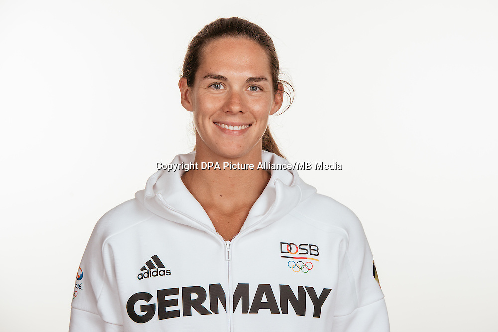 Kira Walkenhorst poses at a photocall during the preparations for the Olympic Games in Rio at the Emmich Cambrai Barracks in Hanover, Germany, taken on 19/07/16 | usage worldwide