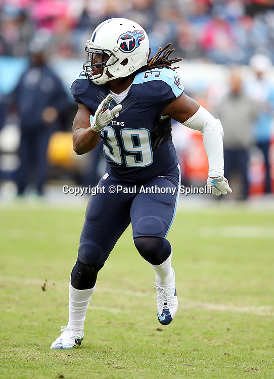 Tennessee Titans strong safety Daimion Stafford (39) chases the action during the 2015 week 7 regular season NFL football game against the Atlanta Falcons on Sunday, Oct. 25, 2015 in Nashville, Tenn. The Falcons won the game 10-7. (©Paul Anthony Spinelli)