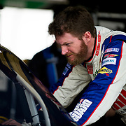 April 27, 2012:  Sprint Cup Series Driver Dale Earnhardt Jr. (88)examines his car prior to the start of practice for the Capital City 400 at Richmond International Raceway, Richmond, VA. (Credit Image: © Kostas Lymperopoulos/Cal Sport Media)
