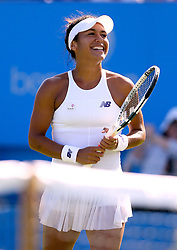 Great Britain's Heather Watson celebrates after winning her match against Slovakia's Dominika Cibulkova during day four of the AEGON International at Devonshire Park, Eastbourne.