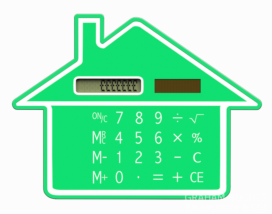 Green calculator shaped like a house with pound symbols on LCD screen.