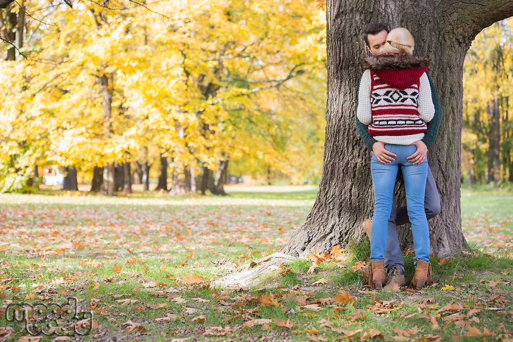 Passionate couple against tree trunk in park during autumn