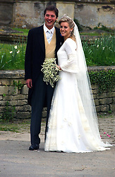 LAURA PARKER BOWLES and HARRY LOPES  at the wedding of Laura Parker Bowles to Harry Lopes held at Lacock, Wiltshire on 6th May 2006.<br />