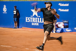 April 26, 2018 - Barcelona, Catalonia, Spain - DOMINIC THIEM (AUT) returns the ball to Jozef Kovalik (SVK) during Day 4 of the 'Barcelona Open Banc Sabadell' 2018. Thiem won 7:6, 6:2 (Credit Image: © Matthias Oesterle via ZUMA Wire)