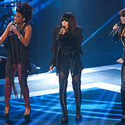 NLD/Hilversum/20121214 - Finale The Voice of Holland 2012, opening door Leona Phillipo, Loreen en Floortje Smit