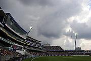 Dark clouds loom above the pavilion as rain threatens during the International Test Match 2019 match between England and Australia at Edgbaston, Birmingham, United Kingdom on 3 August 2019.