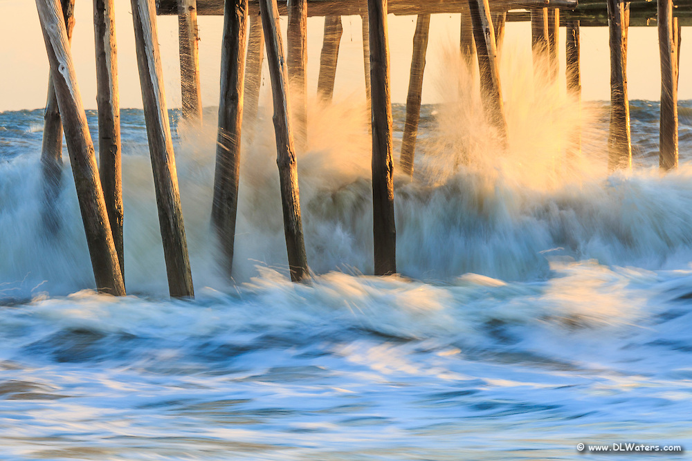 A long exposure and crashing waves created this photo of the Outer Banks Pier in South Nags Head.
