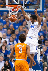 Kentucky forward Marcus Lee, right, slams two down in the first half.<br /> <br /> The University of Kentucky hosted the University of Tennessee, Thursday, Feb. 18, 2016 at Rupp Arena in Lexington.
