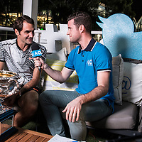 Roger Federer of Switzerland in the Twitter Blue Room after the men's final on day fourteen of the 2017 Australian Open at Melbourne Park on January 29, 2017 in Melbourne, Australia.<br /> (Ben Solomon/Tennis Australia)