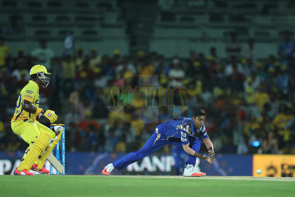 J Suchith of the Mumbai Indians  during match 43 of the Pepsi IPL 2015 (Indian Premier League) between The Chennai Superkings and The Mumbai Indians held at the M. A. Chidambaram Stadium, Chennai Stadium in Chennai, India on the 8th May April 2015.<br /> <br /> Photo by:  Ron Gaunt / SPORTZPICS / IPL