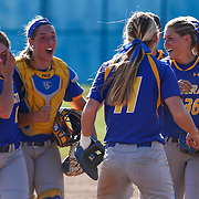 Hofstra University celebrate a Colonial Athletic Association regular season 6-5 win over Delaware Saturday, April 16, 2016, at Delaware softball stadium in Newark, Delaware.