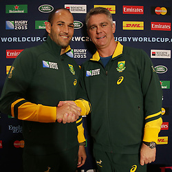 GATESHEAD, ENGLAND - SEPTEMBER 30: Fourie du Preez (captain) with Heyneke Meyer (Head Coach) of South Africa during the South African national rugby team announcement at Hilton Newcastle Gateshead on September 30, 2015 in Gateshead, England. (Photo by Steve Haag/Gallo Images)