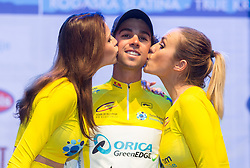 Manja Dobrilovic, Winner Michael Matthews of Orica GreenEdge and Katarina Bencek at flower ceremony after the Stage 1 of 21st Tour of Slovenia 2014 - Time Trial 8,8 km cycling race in Ljubljana, on June 19, 2014 in Slovenia. Photo By Vid Ponikvar / Sportida