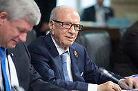 08 JUN 2015, ELMAU/GERMANY:<br /> Beji Caid Essebsi, Praesident Tunesien, vor Beginn der Sitzung der G7-Regierungschefs mit Vertretern afrikanischer Staaten (den sog. Outreach-Staaten) und internationaler Organisationen zu den Themen Entwicklungszusammenarbeit, Frauen und Gesundheit,<br /> Schloss Elmau<br /> IMAGE: 20150608-01-019<br /> KEYWORDS: Garmisch-Patenkrichen, G7 Summit