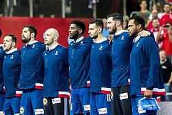 12.05.2017, Zatika Sport Centre, Porec, CRO, EHF EM, Herren, Österreich vs Frankreich, Gruppe B, im Bild v.l. Kentin Mahe (FRA), Nikola Karabatic (FRA), Vincent Gerard (FRA), Dika Mem (FRA), Nedim Remili (FRA), Cyril Dumoulin (FRA), Cedric Sorhaindo (FRA) // during the preliminary round, group B match of the EHF men's Handball European Championship between Austria and France at the Zatika Sport Centre in Porec, Croatia on 2017/05/12. EXPA Pictures © 2018, PhotoCredit: EXPA/ Sebastian Pucher