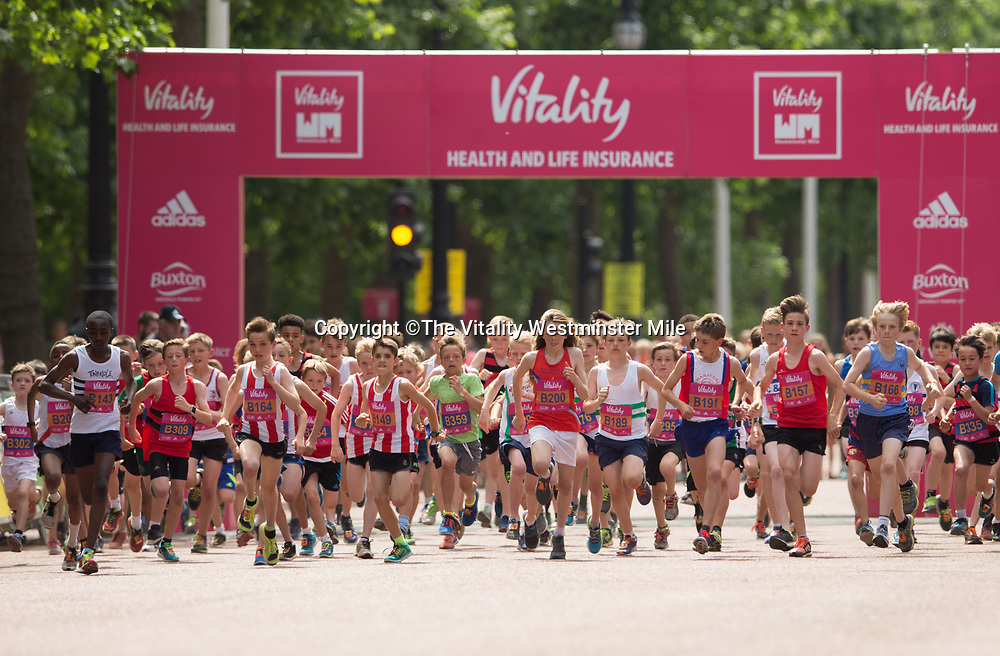 Start of the Boys One Mile Road Races during The Vitality Westminster Mile, Sunday 28th May 2017.<br /> <br /> Photo: Ben Queenborough for The Vitality Westminster Mile<br /> <br /> For further information: media@londonmarathonevents.co.uk
