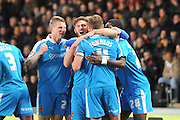 Wolves  celebrate Wolverhampton Wanderers midfielder Dave Edwards (4) scoring to go 1 all  during the Sky Bet Championship match between Hull City and Wolverhampton Wanderers at the KC Stadium, Kingston upon Hull, England on 15 April 2016. Photo by Ian Lyall.