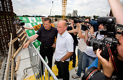 Mayor of Ljubljana Zoran Jankovic and Coach of NK Olimpija Brane Oblak at open door day 1 year before opening of new football stadium and sports hall in Stozice,  on June 30, 2009, at Stadium Stozice, Ljubljana, Slovenia. (Photo by Vid Ponikvar / Sportida)