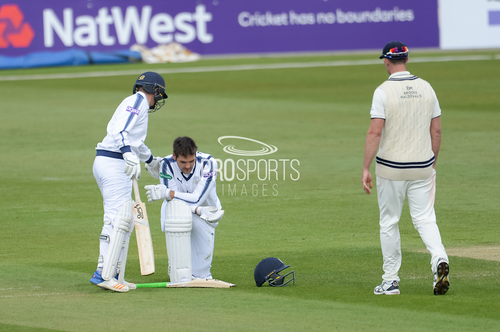Rilee Rossouw of Hampshire on his knees after being run out on 99 during the Specsavers County Champ Div 1 match between Hampshire County Cricket Club and Middlesex County Cricket Club at the Ageas Bowl, Southampton, United Kingdom on 16 April 2017. Photo by David Vokes.