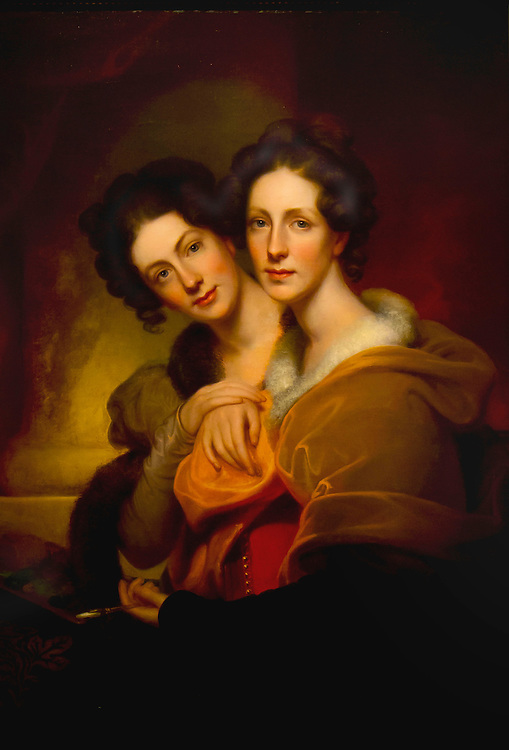 "An original painting known as ""Two Sisters"" by Rembrandt Peale. These are two of his daughters. Brooklyn Museum."