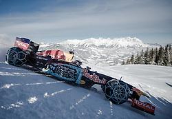 14.01.2016, Hahnenkamm, Kitzbühel, AUT, FIA, Formel 1, Projekt Spielberg Showrun, im Bild Showrun mit Max Verstappen (NED) Red Bull Racing RB7 // Max Verstappen of Netherlands on Red Bull Racing RB7 in action during the Project Spielberg Showrun at Hahnenkamm in Kitzbuehel, Austria on 2016/01/14. EXPA Pictures © 2016, PhotoCredit: EXPA/ Johann Groder<br /> <br /> ***** ACHTUNG BILD WURDE MIT DIGITALEN FILTERTECHNIKEN VERAENDERT / NOTE, THE PICTURE HAS CHANGED WITH DIGITAL FILTERING *****