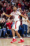 FAYETTEVILLE, AR - FEBRUARY 5:  Keyshawn Embery-Simpson #11 of the Arkansas Razorbacks signals with three fingers after hitting a 3 point basket against the Vanderbilt Commodores at Bud Walton Arena on February 5, 2019 in Fayetteville, Arkansas. The Razorbacks defeated the Commodores 69-66.  (Photo by Wesley Hitt/Getty Images) *** Local Caption *** Keyshawn Embery-Simpson