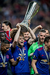 24-05-2017 SWE: Final Europa League AFC Ajax - Manchester United, Stockholm<br /> Finale Europa League tussen Ajax en Manchester United in het Friends Arena te Stockholm / Een blije Daley Blind #17 met de cup