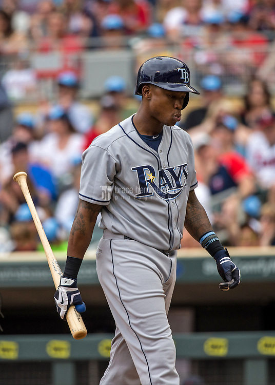 MINNEAPOLIS, MN- MAY 16: Tim Beckham #1 of the Tampa Bay Rays looks on against the Minnesota Twins on May 16, 2015 at Target Field in Minneapolis, Minnesota. The Twins defeated the Rays 6-4. (Photo by Brace Hemmelgarn) *** Local Caption *** Tim Beckham