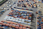 Nederland, Zuid-Holland, Rotterdam, 18-02-2015. Pernis,  Vondelingenweg, containers van ECT op terrein Prins Willem Alexanderhaven.<br /> Containers of ECT terminal.<br /> luchtfoto (toeslag op standard tarieven);<br /> aerial photo (additional fee required);<br /> copyright foto/photo Siebe Swart