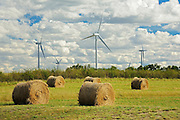 Wind turbines and bales<br /> Rosenhof<br /> Saskatchewan<br /> Canada