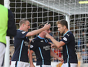 Greg Stewart is congratulated after scoring Dundee's third goal by Paul McGowan and David Clarkson  - Motherwell v Dundee, SPFL Premiership at Fir Park<br /> <br />  - &copy; David Young - www.davidyoungphoto.co.uk - email: davidyoungphoto@gmail.com