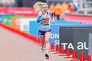 Charlotte Purdue (Great Britain) approaching the finish line in the Women's Elite race, during the Virgin Money 2019 London Marathon, London, United Kingdom on 28 April 2019.