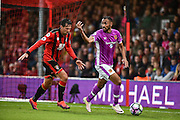 Hull City Midfielder, Ahmed Elmohamady (27) holds off AFC Bournemouth Defender, Charlie Daniels (11) during the Premier League match between Bournemouth and Hull City at the Vitality Stadium, Bournemouth, England on 15 October 2016. Photo by Adam Rivers.