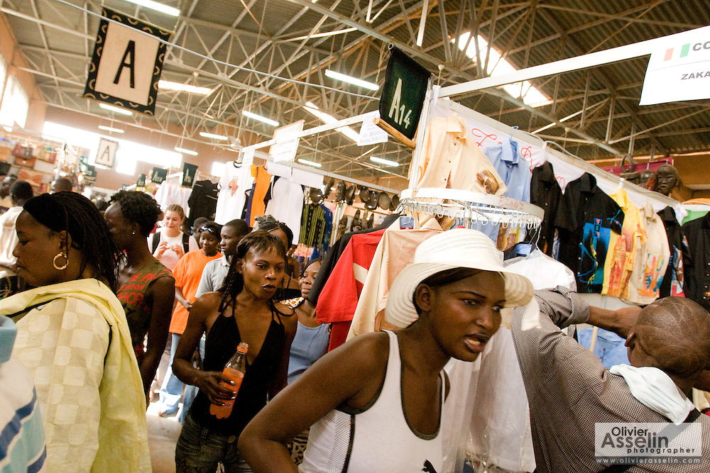 Visitors in a pavilion at the 22nd Salon International de l'Artisanat de Ouagadougou (SIAO) in Ouagadougou, Burkina Faso on Sunday November 2, 2008.