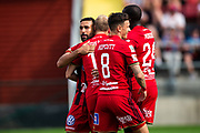 OSTERSUND, SWEDEN - JULY 21: Saman Ghoddos of Ostersunds FK and Curtis Edwards of Ostersunds FK and Jamie Hopcutt of Ostersunds FK celebrates after scoringduring the Allsvenskan match between Ostersunds FK and Trelleborgs FF on July 21 at Jamtkraft Arena, 2018 in Gothenburg, Sweden. Photo by Johan Axelsson/Ombrello ***BETALBILD***