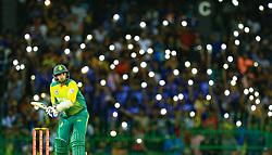 August 14, 2018 - Colombo, Sri Lanka - South African cricketer Tabraiz Shamsi plays a shot during the only Twenty-20 cricket match between Sri Lanka and South Africa at R Premadasa International Cricket ground, Colombo, Sri Lanka on Tuesday 14 August 2018  (Credit Image: © Tharaka Basnayaka/NurPhoto via ZUMA Press)