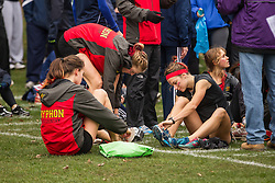 London, Ontario ---2012-11-10--- The Guelph Gryphons get ready at the 2012 CIS Cross Country Championships at Thames Valley Golf Course in London, Ontario, November 10, 2012. .GEOFF ROBINS Mundo Sport Images