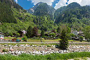 Landscape of Swiss village by the river