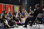 November 22, 2010 - Massachusetts Governor Deval Patrick take questions during a talk with a group of 4th graders at the Oaklandvale Elementary School in Saugus  about reading to celebrate Family Literacy Month and congratulate them and their teachers on their recent success in academic achievement.