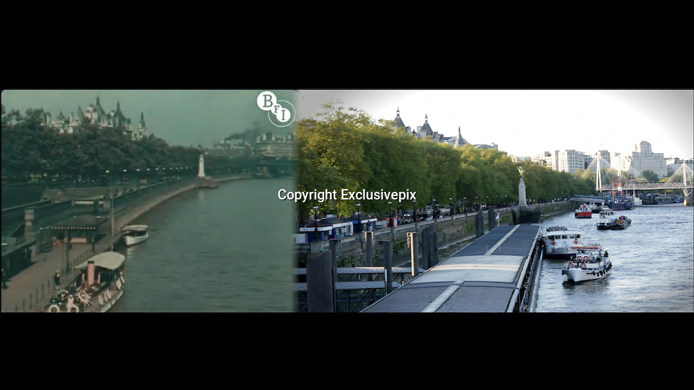 London in 1927 &amp; 2013: A Shot-By-Shot Video Comparison of London, 86 Years Apart<br /> <br /> Short film available from:  http://vimeo.com/81368735<br /> <br /> In the mid-1920s cinema technician, filmmaker, and cinematographer Claude Friese-Greene traveled across the UK with a new color film camera to create his famous collection of films, The Open Road. The filmmaker&rsquo;s trip culminated in London with scenes that captured the daily life of Londoners as well as several iconic cityscapes.<br /> <br /> Now Fast forward 86 years later. Starting early last year filmmaker Simon Smith, armed with his own camera, traversed the footsteps of Friese-Greene to make his own film. The result is uncanny. Smith matched the original films shot by shot, mimicking the timing and angle almost perfectly for nearly 6 minutes of footage. While the differences between London of 1926 and 2013 are easy to spot when viewing the films side-by-side, what&rsquo;s more amazing are the similarities. While clothing styles and car designs changed a bit, it&rsquo;s almost impossible to tell some of these shots apart if it weren&rsquo;t for the quality of the film. <br /> Photo shows: From Hungerford Bridge<br /> &copy;mrsimonsmith.com/Exclusivepix