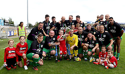 Bristol City pose for pictures with Oskar Pycroft and the Bristol Fans Derby Trophy - Mandatory by-line: Robbie Stephenson/JMP - 04/09/2016 - FOOTBALL - Memorial Stadium - Bristol, England - Bristol Rovers Fans v Bristol City Fans - Bristol Fan Derby