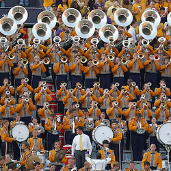Sep 18, 2010; Baton Rouge, LA, USA;  The LSU Tigers band performs in the stands during the first half of a game against the Mississippi State Bulldogs at Tiger Stadium.  Mandatory Credit: Derick E. Hingle