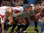 2005 Rugby, Investec Challenge, England vs Manu Samoa, England's,second, front row left Matt Stevens, centre lee Mears and Perry Freshwater, line up for a second half scrum at England beat Samoa, 40 points to 3 at the  RFU stadium, Twickenham, ENGLAND:     26.11.2005   © Peter Spurrier/Intersport Images - email images@intersport-images..
