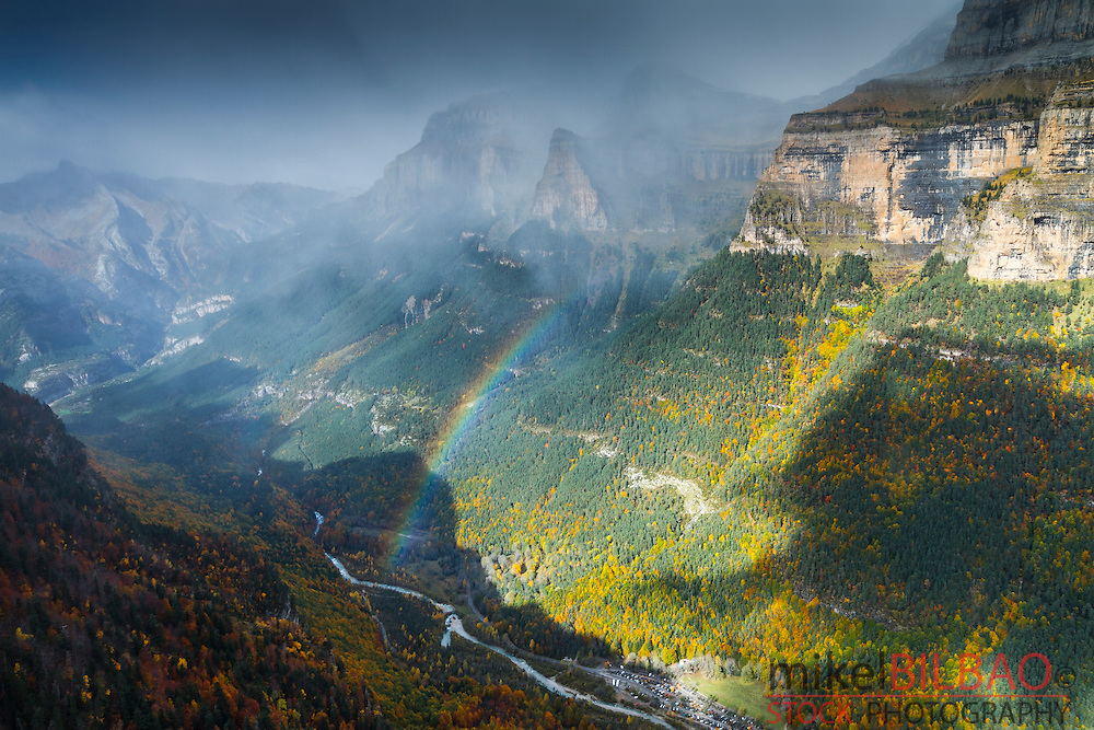 Mountains view and rainbow. <br /> Ordesa National Park. Pyrenees mountain range. Huesca, Spain, Europe.