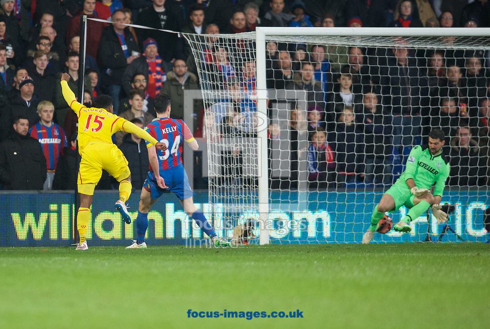 Daniel Sturridge of Liverpool scores his side's 2nd goal during the FA Cup match at Selhurst Park, London<br /> Picture by Alan Stanford/Focus Images Ltd +44 7915 056117<br /> 14/02/2015