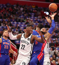 October 17, 2018 - Detroit, Michigan, U.S. - The Detroit Pistons' BRUCE BROWN, right, rebounds against the Brooklyn Nets' CARIS LEVERT (22) in the first period on Wednesday,  at Little Caesars Arena. (Credit Image: © Kirthmon F. Dozier/Detroit Free Press/TNS via ZUMA Wire)