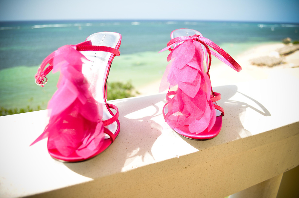 Lulu's saucy pink wedding day shoes